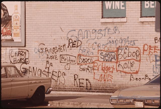 Graffiti in de straten van Chicago, VS (circa 1945)