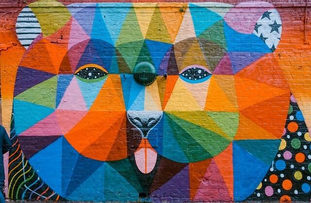 Graffiti voorbeeld gekleurde beer